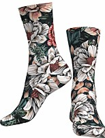 cheap -Socks Cycling Socks Men's Women's Bike / Cycling Breathable Soft Comfortable 1 Pair Floral Botanical Cotton Pink S M L / Stretchy