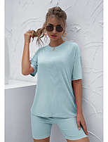 cheap -Women's 2 Piece Set Crew Neck Solid Color Sport Athleisure Clothing Suit Short Sleeves Breathable Soft Comfortable Everyday Use Street Casual Daily Outdoor / Summer