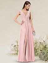 cheap -A-Line Empire Elegant Wedding Guest Prom Dress V Neck Sleeveless Floor Length Chiffon with Split 2021