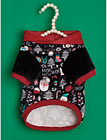 cheap -Dog Cat Christmas Costume Geometic Quotes & Sayings Santa Claus Classic Style Simple Style Christmas Winter Dog Clothes Puppy Clothes Dog Outfits Warm Red Black Costume for Girl and Boy Dog Flannel