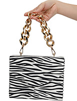 cheap -Women's Bags Polyester Evening Bag Chain Zebra Print Party / Evening Daily Retro Evening Bag Chain Bag Gray White Beige Coffee