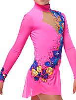 cheap -Figure Skating Dress Women's Girls' Ice Skating Dress Pink Flower Spandex High Elasticity Training Competition Skating Wear Patchwork Long Sleeve Ice Skating Figure Skating