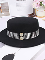 cheap -Women's Party Hat Party Wedding Street Beaded Houndstooth Camel Black Hat / White / Green / Fall / Winter