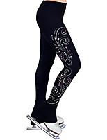 cheap -Figure Skating Pants Women's Girls' Ice Skating Tights Leggings Black Flower Fleece Spandex High Elasticity Training Practice Competition Skating Wear Thermal Warm Crystal / Rhinestone Ice Skating