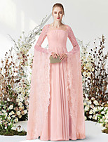 cheap -A-Line Empire Elegant Engagement Formal Evening Dress Jewel Neck Long Sleeve Floor Length Chiffon Lace with Pleats 2021