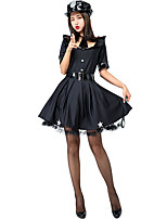 cheap -Police Uniforms Cosplay Costume Adults' Women's Halloween Halloween Festival Halloween Festival / Holiday Terylene Black Women's Easy Carnival Costumes Solid Colored / Dress / Hat / Tie / Waist Belt