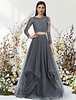 cheap -Two Piece A-Line Luxurious Elegant Engagement Formal Evening Dress Jewel Neck Long Sleeve Floor Length Lace Tulle with Pleats 2021