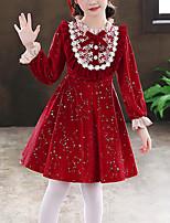 cheap -Kids Little Girls' Dress Galaxy Butterfly Sports Dress Party School Lace Trims Bow Fuchsia Red Velvet Knee-length Long Sleeve Princess Sweet Dresses Fall Spring Regular Fit 3-12 Years