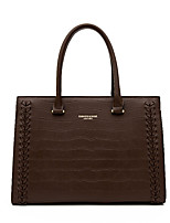 cheap -Women's Bags PU Leather Top Handle Bag Zipper Solid Color Daily Handbags Black Red Brown Coffee