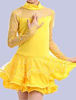 cheap -Latin Dance Kids' Dancewear Dress Solid Paillette Tulle Girls' Performance Long Sleeve Elastane Tulle