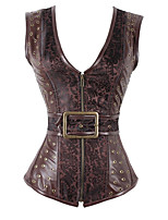 cheap -Women's Halloween Corset Plain Drawstring Zipper Strapless Vintage Sexy Punk & Gothic Tops Brown