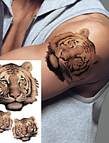 cheap -2 PCS Lion Tiger Cool Temporary Tattoo Sticker Fashion Wolf Waterproof Animal Body Art Arm Fake Removable Tatoo Men Women Personality