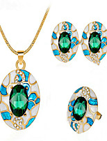 cheap -Women's Synthetic Sapphire Bridal Jewelry Sets Geometrical Flower Stylish Earrings Jewelry Blue / Green / Black For Party Wedding Daily Festival 1 set