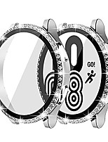 cheap -[2 pack]  compatible samsung galaxy watch 4 44mm 40mm screen protector case bling, ultra-clear full around diamond bezel bumper cover (silver, samsung galaxy watch 4 44mm)