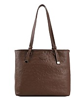 cheap -Women's Bags PU Leather Tote Top Handle Bag Zipper Plain Solid Color Daily Outdoor Leather Bag Tote Handbags White Black Brown