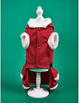 cheap -Dog Cat Dress Christmas Costume Classic Style Christmas Casual / Daily Winter Dog Clothes Puppy Clothes Dog Outfits Warm Red Costume for Girl and Boy Dog Flannel Fabric XS S M L XL
