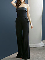 cheap -Jumpsuits Celebrity Style Sexy Engagement Formal Evening Dress Strapless Sleeveless Floor Length Stretch Fabric with Pocket 2021