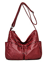 cheap -Women's Bags PU Leather Tote Crossbody Bag Top Handle Bag Zipper Plain Solid Color Vintage Daily Outdoor Retro Leather Bag Tote Gray Black Red Brown