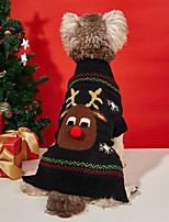 cheap -Dog Cat Sweater Dog clothes Reindeer Elk Animal Deer British Christmas Winter Dog Clothes Puppy Clothes Dog Outfits Warm Black Costume for Girl and Boy Dog Knitted XXS XS S M L XL