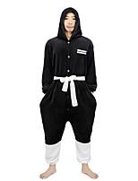 cheap -Adults' Kigurumi Pajamas Nightwear Cartoon Onesie Pajamas Flannelette Black Cosplay For Men and Women Animal Sleepwear Cartoon Festival / Holiday Costumes
