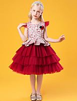 cheap -Kids Little Girls' Dress Graphic Flower Party Special Occasion Mesh Blushing Pink Green Red Knee-length Sleeveless Princess Cute Dresses Children's Day Fall Winter Slim 3-10 Years / Spring / Summer