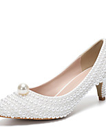 cheap -Women's Wedding Shoes Pumps Pointed Toe Wedding Pumps Party Wedding PU Pearl Imitation Pearl Solid Colored Color Block White Beige
