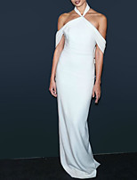 cheap -Sheath / Column Celebrity Style Elegant Engagement Formal Evening Dress Halter Neck Short Sleeve Floor Length Stretch Chiffon with Sleek 2021