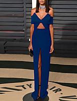 cheap -Sheath / Column Celebrity Style Elegant Engagement Formal Evening Dress Off Shoulder Short Sleeve Floor Length Stretch Fabric with Split 2021