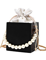 cheap -Women's Bags PU Leather Evening Bag Pearls Chain Plain Solid Color Vintage Daily Outdoor Retro Leather Bag Handbags Blushing Pink Silver Gold Black