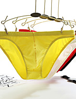 cheap -Men's Basic Simple Pure Color Sexy Panties High Elasticity Low Waist Yellow M