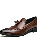 cheap -Men's Loafers & Slip-Ons Business Classic British Wedding Office & Career PU Black Brown Fall Spring