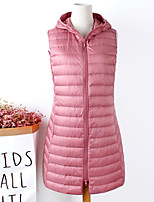 cheap -Women's Down Vest Street Daily Going out Fall Winter Regular Coat Regular Fit Warm Breathable Casual Jacket Sleeveless Solid Color Full Zip Pocket Blushing Pink Gray Khaki
