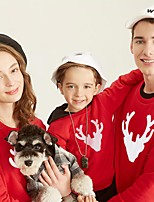 cheap -Christmas Tops Family Look Deer Athleisure Print White Black Red Long Sleeve Basic Matching Outfits