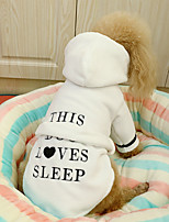 cheap -Dog Cat Pajamas Solid Colored Quotes & Sayings Adorable Cute Dailywear Casual / Daily Winter Dog Clothes Puppy Clothes Dog Outfits Soft Pink White Dark Blue Costume for Girl and Boy Dog Cotton XS S M