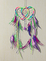 cheap -Double heart dream catcher colorful feather ornaments home decoration Indian dream catcher wall hanging