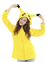 cheap -Adults' Kigurumi Pajamas Nightwear Pika Pika Onesie Pajamas Flannelette Yellow Cosplay For Men and Women Animal Sleepwear Cartoon Festival / Holiday Costumes
