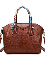 cheap -Women's Bags PU Leather Crossbody Bag Top Handle Bag Dome Bag Zipper Plain Solid Color Vintage Daily Outdoor Retro Leather Bag Handbags Black Red Brown