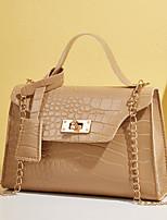 cheap -Women's Bags PU Leather Crossbody Bag Top Handle Bag Plain Crocodile Daily Date Retro Handbags Blushing Pink Khaki Green Brown
