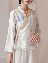 cheap -Long Sleeve Elegant Chiffon Wedding Party / Tea Party Women's Wrap With Pattern / Print