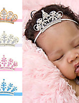 cheap -4 pcs/set Children's Crown Elastic Hair Belt Baby Water Drill Crown Thin Belt Headband