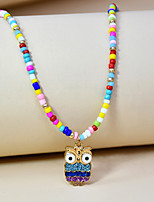 cheap -Beaded Necklace Charm Necklace Women's Beads Owl Colorful Holiday Sweet Boho Rainbow 40 cm Necklace Jewelry 1pc for Street Gift Daily Prom Festival irregular