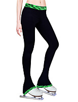 cheap -Figure Skating Pants Women's Girls' Ice Skating Tights Leggings Green Fleece Spandex High Elasticity Training Practice Competition Skating Wear Thermal Warm Handmade Patchwork Ice Skating Figure