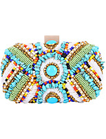 cheap -Women's Bags Polyester Evening Bag Crystals Chain Floral Print Party / Evening Daily Retro Evening Bag Chain Bag Rainbow