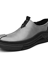 cheap -Men's Loafers & Slip-Ons Casual Vintage British Daily Office & Career Leather Gray Black Fall Spring