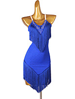 cheap -Latin Dance Dress Tassel Crystals / Rhinestones Women's Training Performance Sleeveless Chinlon