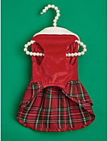 cheap -Dog Cat Dress Christmas Costume Santa Claus Elk Snowman Birthday Cute Christmas Party Dog Clothes Puppy Clothes Dog Outfits Red Costume for Girl and Boy Dog Polyster XS S M L XL