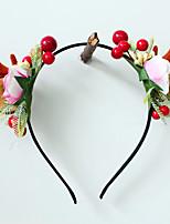 cheap -Christmas Antlers Headband Cute Forest Cat Ears Flowers Berry Headband Dance Photo Christmas Hair Accessories