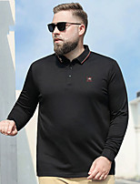 cheap -Men's Polo Pure Color Plus Size Embroidered Sporty Long Sleeve Athleisure Tops Sports & Outdoors Stylish Blue Green Black
