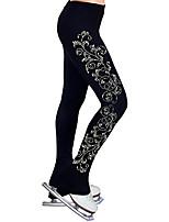 cheap -Figure Skating Pants Women's Girls' Ice Skating Tights Leggings Black Flower Fleece Spandex High Elasticity Training Practice Competition Skating Wear Thermal Warm Handmade Crystal / Rhinestone Ice
