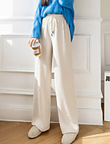 cheap -Women's Streetwear Chino Comfort Chinos Casual Weekend Pants Plain Full Length Elastic Drawstring Design Black Apricot